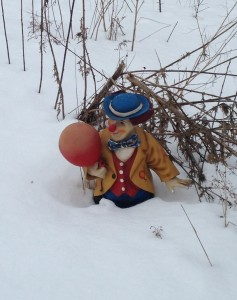 Our Clown-Greeter loves the winter, but can't wait for the summer!